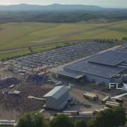 Herbert Grönemeyer Open Air. Rothaus Arena. Flugplatz Freiburg EDTF. Luftaufnahme mit Drohne.