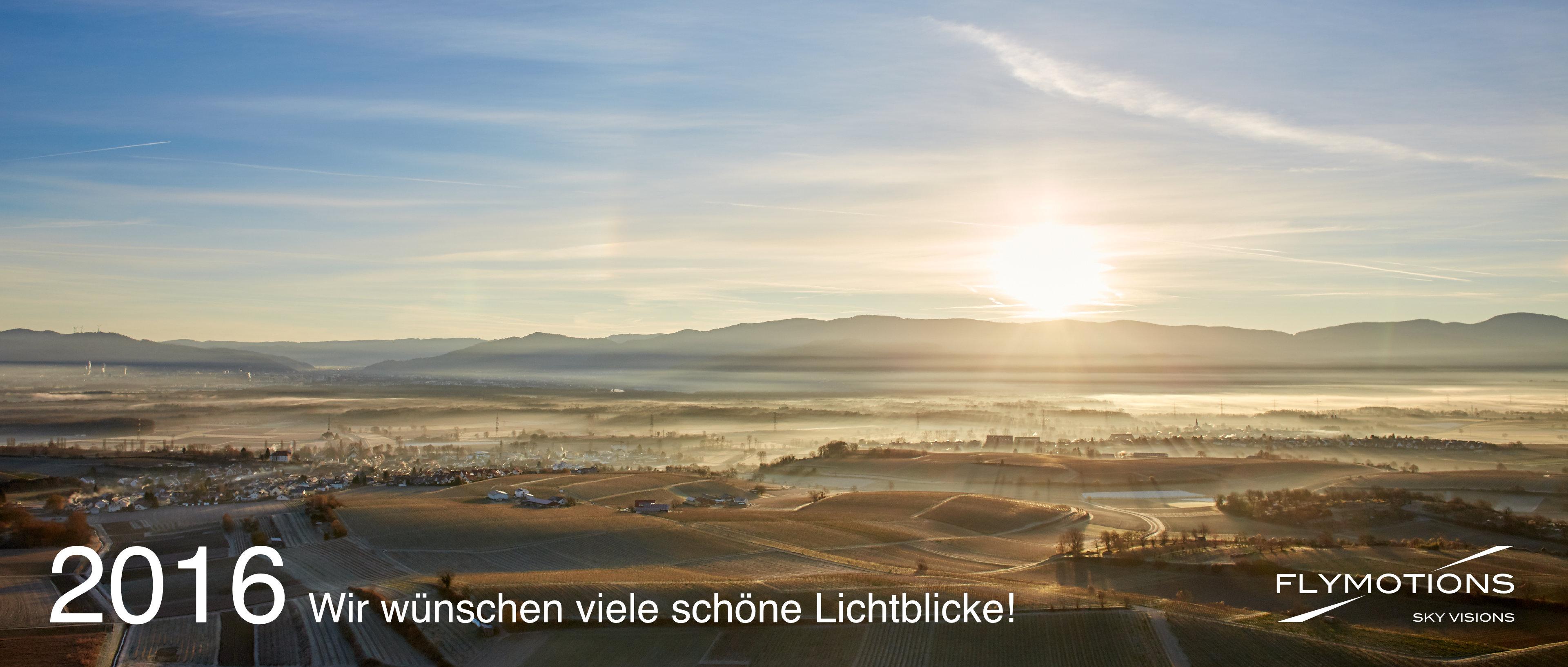 Luftaufnahme Sonnenaufgang ueber dem Schwarzwald